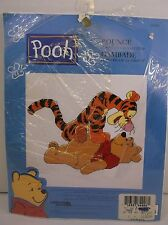 "Leisure Arts Pooh & Tigger ""Bounce"" counted cross stitch  NIP 8.5x6.5"""