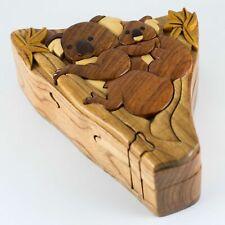 Koala Mom Baby Wooden Intarsia Puzzle Box Secret Chamber Handmade Handcrafted