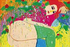 """Walasse Ting """"Pienso en ti' 1976-Fine Art Print, Picasso, fantasía, Japón Arte"""