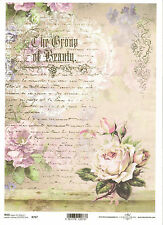 Rice Paper for Decoupage Scrapbooking, Vintage Letter Roses  ITD R707