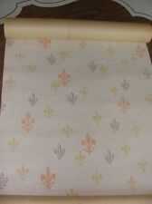 Vintage Wall Paper Roll Fleur de Lis Yellow Orange Pastel Gold Fleck