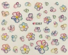 Nail Art 3D Decal Stickers Watercolored Multicolored Flowers E357