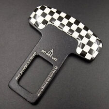 Checkered Alloy Seat Belt Buckle Car Safety Alarm Stopper Null Insert Clip Clasp