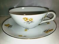 VINTAGE TEA CUP AND SAUCER ARIEL BY YAMATO JAPAN YELLOW ROSES GOLD TRIM