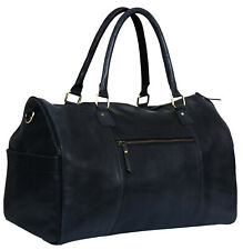 Mens Genuine Black Leather Overnight Travel Gym Vintage Duffle Luggage Bag