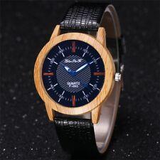 Stylish Wooden Watch Minimalist Wristwatch Bamboo Wood Genuine Leather Strap