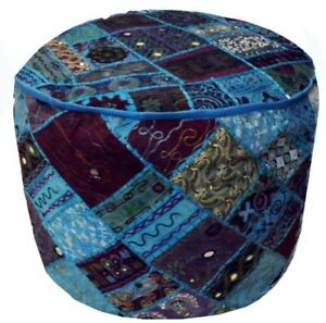 Handmade Moroccan Patchwork Pouf Cover Footstool Vintage Patchwork Ottoman Cover