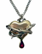 Bleeding Heart Wrapped in Thorns with Red Crystal Necklace - Gothic Jewelry fnt