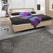 Bettanlage Burano Bett 2x Nakos in Sonoma Eiche und weiß 180x200