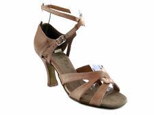 Women's Brown Satin Swing Ballroom Salsa Mambo Latin Dance Shoes heel 3 Size 5.5