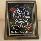 """1982 Pabst Blue Ribbon Beer Mirror - """"The Real Taste of Beer"""" - PBR Smoked Glass"""