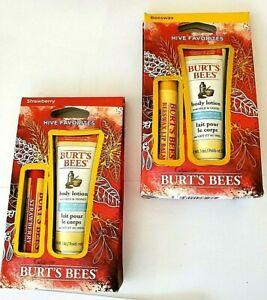 Burt's Bees Hive Favorites lot of 2 2 Pc Sets Strawberry Lip Balm & Body Lotion