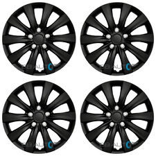 "(4) 16"" Gloss BLACK Full Wheel Covers Hubcaps Snap On fits R16 Tires Steel Rims"