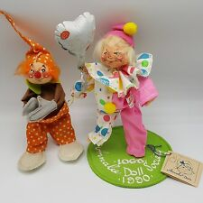 Annalee Dolls Clowns Lot 2 Logo Society 1990 1980 Orange Baggy Circus Love You