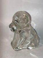 Vintage Antique Clear Glass Dog Puppy Hound Hollow Figurine Art Paperweight