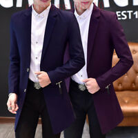 Korean Men Slim Business Casual Lapel Collar Blazer Long trench Coat jacket Size
