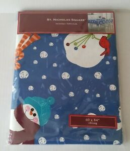 St Nicholas Square Christmas Tablecloth Snowmen oblong 60x84 inches Snowdays NIP