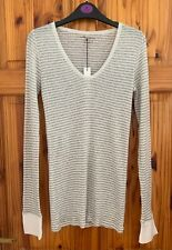 BNWT Majestic Filatures Ivory+Grey Long Sleeve Top Size 1 Silk Cashmere Cotton