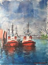"""Watercolor Original Painting Unique 11"""" x 15"""" Red Tugboats"""