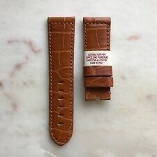 24mm Genuine Alligator Tan Brown Leather Watch Strap Band Made For Panerai