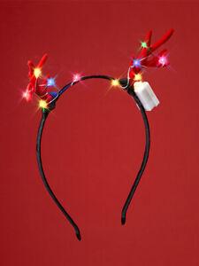 LED Antler Headband Christmas Glowing Light Up Flashing Band Xmas Party Lights