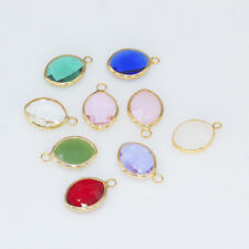 12p10x14 Leaf Framed Faceted Glass Pendant Charm Jewelry Earrings Necklace Decor