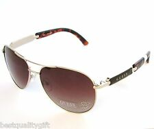 "GUESS GOLD FRAME+BROWN+TORTOISE 100% UV CRYSTAL ""G"" LENS AVIATOR SUNGLASSES-7295"