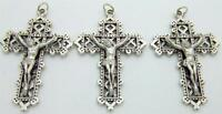 "MRT 3 Silver Plate Lattice Crucifix Pendant Catholic Cross Gift 1 1/2"" Italian"