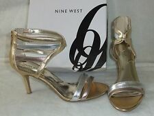 NINE WEST Geezlouis Gold Silver Copper Strappy Heel Sandal Dress Size 7 NIB $89