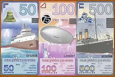 SET, New Jason Islands, 50;100;500 Australes, 2012, POLYMER, UNC > Disasters