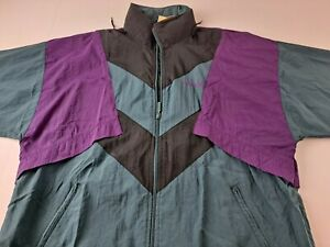 Vintage Adidas Original Trefoil Men Medium M Green Purple Nylon Jacket Hooded G3