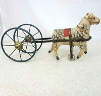 Antique Dapple Horse Pulling Wheels Toy With Metal Wheels early 1900s 9 inches