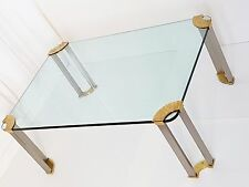 BEAUTIFUL COFFEE TABLE RECTANGULAR BRASS STEEL BRUSH GLASS VINTAGE 1970