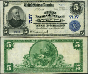 New Holland OH-Ohio $10 1902 PB National Bank Note Ch #7187 FNB VF