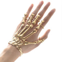 Women Girls Metal Skeleton Skull Wrist Bracelet Fashion Jewelry Hand Chain Bone