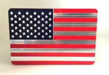 "AMERICAN FLAG, BILLET ALUMINUM HITCH PLUG COVER, 4""x 6"" RED/BL"