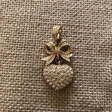 Joan River Gold Tone Chunky Rhinestone Heart & Bow Pendant