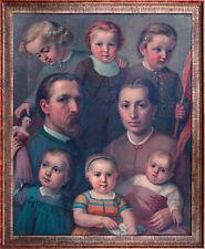 Schweizer Maler 1873 Familienbildnis Feinmalerei Ölgemälde nicht signiert 69x 57