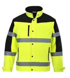"""CLASS 3 HIGH VISIBILITY TWO TONE SOFTSHELL JACKET 2"""" REFLECTIVE TAPE S-6X US429"""
