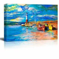 "Canvas Prints Wall Art - Original Oil Painting of Lighthouse and Boats-24"" x 36"""