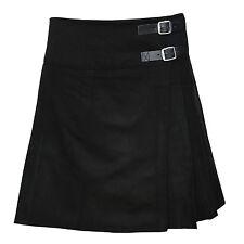 "Ladies Knee Length Kilt Skirt 20"" Length Tartan Pleated Kilts 11 Various Colours Black 16"