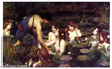 John William Waterhouse Hylas and the Nymphs Oil Painting Canvas Print 24''x40''