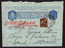 POSTA MILITARE 1943 Biglietto PA da PM 22 a Borgo S.Giuliano (FMH)