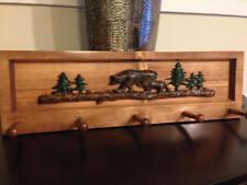 Bear, Log and Tree Decorative Coat Rack, Cabin Decor, Mountain Lake Decor