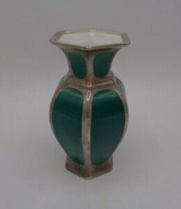 Art Deco Vase Rosenthal um 1930, Silberoverlay, versilbert  H 13cm