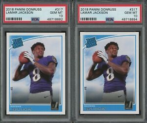Investor Lot Of (2) 2018 Donruss #317 Lamar Jackson Ravens RC Rookie PSA 10