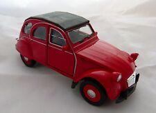 Welly Citroën 2cv ente avec marquise fermé en rouge environ 11,5 cm de long