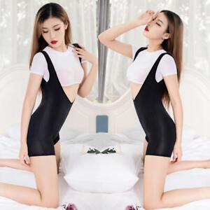 Women Sheer Jumpsuit Bodycon Lingerie Crop Bodysuit Top T-Shirt Suspender Shorts