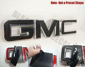 07-20  GMC Sierra Yukon Carbon Fiber Front Grill Emblem Overlay decal WRAP