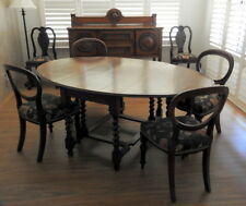 Furniture Oak Dining Table, and 4 Mahogany, Balloon-Back Chairs